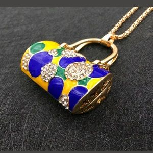 Betsey Johnson Blue Yellow Rhinestone pendant